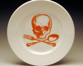 skull and cross-utensils 7 inch dessert plate in Orange