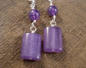 Purple jade rectangles, crackle agate stone and silver handmade earrings