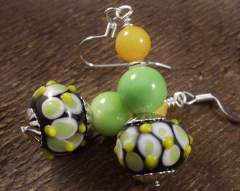 Yellow, white, lime green lamp work glass beads, lemon jade stone and silver handmade earrings