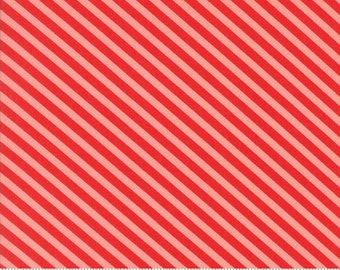 Handmade - Candy Stripe in Red and Coral: sku 55145-23 cotton quilting fabric by Bonnie and Camille for Moda Fabrics - 1 yard