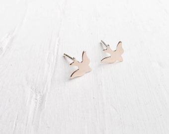 Gold Sparrow Studs Bird Earrings Tiny Flying Birdie Earings Bird Jewelry