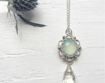 Chalcedony Daisy Necklace with 14K Gold and Prasiolite Drop Green Amethyst Pendant Mint Cabochon Two Tone Jewelry