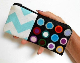 Zipper Pouch Smart Phone Pouch ECO Friendly Padded NEW SIZE Dots with Chevron