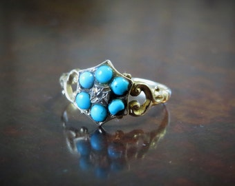 Georgian 14K Turquoise, Diamond and Gold Flower or Cluster Ring 5.75
