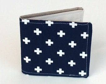 Slim Cotton Wallet in Navy Blue with Swiss Crosses, Vegan Wallet, Preppy Geometric print for Men, Women and Kids, ready to ship