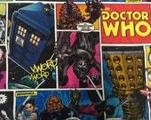 Doctor Who Comic Book fabric, hard to find 1 yard