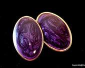 Purple Enamel Earrings, Vintage Purple Stud Earrings, 1980 Purple Earrings, Oval Purple Earrings,