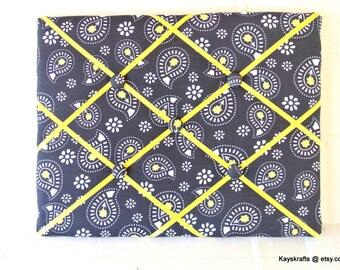 White Yellow Paisley Gray Memory Board French Memo Board, Ribbon Pin Board, Fabric Ribbon Memo Bulletin Board, Christmas Gift