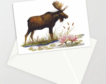 Greeting Card - GENTLE GIANT - BC Moose, Wildlife, Nature, Animal, Water Lily, Watercolor Art Painting