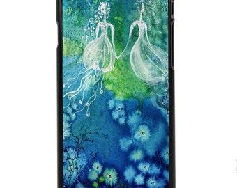 "Phone Case ""Sisters"" - Watercolor Art Print Painting Ocean Jellyfish Water Fairy Girls Fantasy Home cute gift By Olga Cuttell"