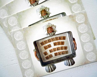 "Set of 4 Original Fine ART Postcards 4"" x 6"" Dieting CAKE GIRL print of Mixed Media Assemblage by Emily Sytsma"