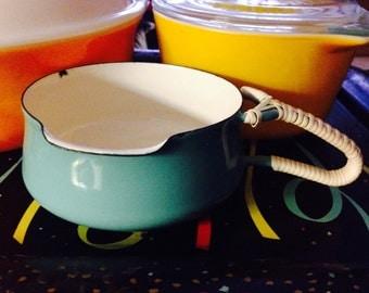 DANSK Kobenstyle enamelware butter warmer, vintage, turquoise, 4 ducks mark. Designed by Jans Quistgaard, Made in Denmark