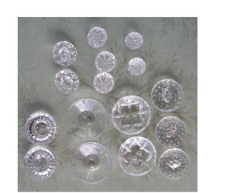 Collection of Vintage Clear Pairs of Buttons