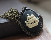 Ship Cameo Necklace, Nautical, Maritime, Sailign and Ships, Pirate, Boxing Day Sale