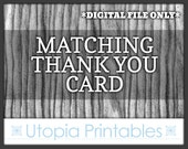 Matching Thank You Card - Coordinated Thanks Card To Match Any Invitation In This Shop