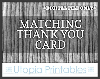 Matching Thank You Card - Coordinated Thanks Card To Match Any Custom Invitation In This Shop