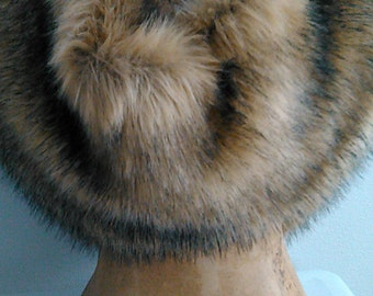 Tan Faux Fox Fur Infnity Shrug Wrap Stole