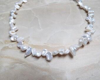 White Keshi pearl bead strand