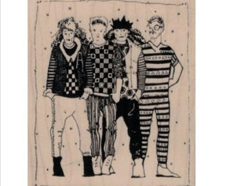 rubber stamp Whimsical people 4 girls boys hipsters stamps no19914 mary vogel lozinak original