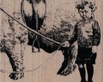 rubber stamp Upset Boy With Pet Pig  stamps stamping supplies craft number 637