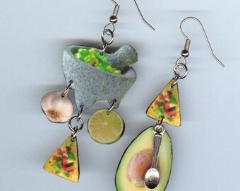 Guacamole Earrings - Molcajete bowl Avocado taco chip tortilla - Mexican Fiesta - waitress restaurant gift - earring Designs by Annette