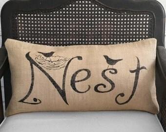 Nest - Burlap  Pillow - Feedsack Pillow - Nest Pillow - Bird Nest  - Lumbar Pillow
