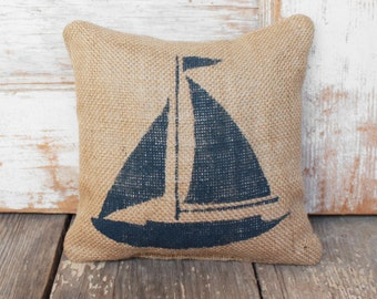Sail Away -  Sailboat Burlap Feed Sack Doorstop - Nautical  Design - Coastal Door Stop