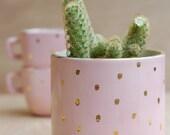 Round Ceramic Planter - Succulent Planter- Cactus Planter - Handmade Planter - Pink and Gold Dots  - Modern Ceramics - Ceramics and Pottery