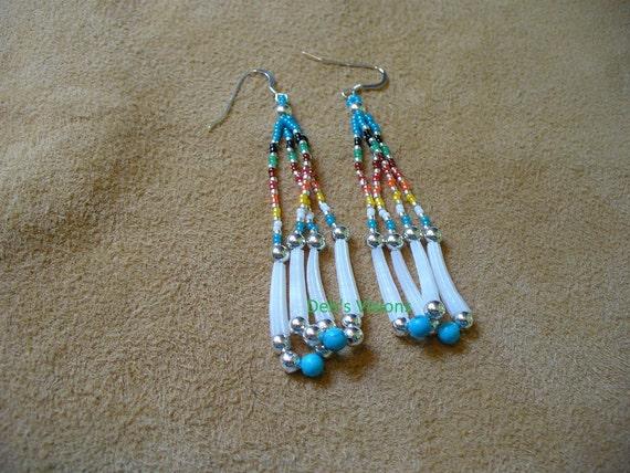 Native American Style looped fringe Dentillium shell earrings