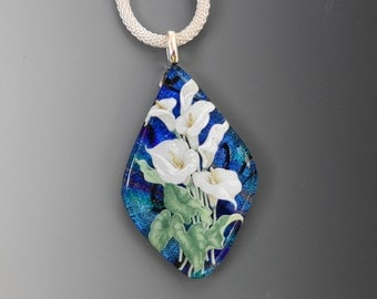 Teardrop Fused Glass Necklace, Fused Glass Flower Pendant,  Dichroic Fused Glass Pendant, Dichroic Glass Flower Necklace - Calla Lilies