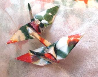 Shibori Orange Peace Crane Bird Wedding Cake Topper Party Favor Origami Christmas Ornament Paper Place Card Holder Tie Dye Decoration Green