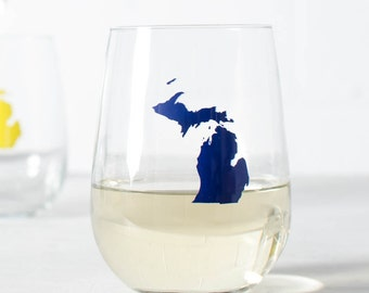 RESERVED for Megan- Custom Michigan Wine glasses