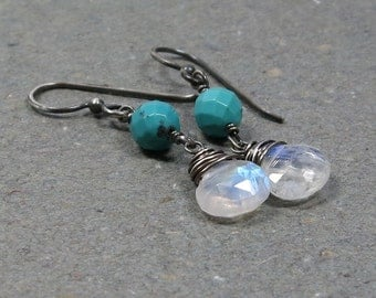 Rainbow Moonstone Earrings Turquoise Earrings Oxidized Sterling Silver Earrings Dangle Earrings