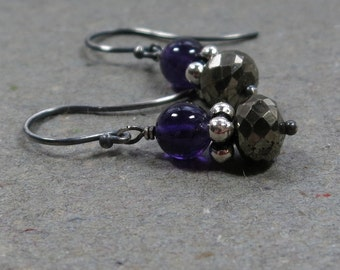 Pyrite Earrings Purple Amethyst Oxidized Sterling Silver Metallic Earrings