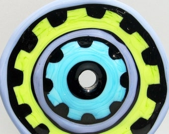 Turple & Green Big Wheel--Handmade Lampwork Glass Bead Disc