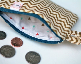 Metallic Gold Chevron Fabric credit card zipper pouch. coin purse. triangles in teal and coral, jewlery case padded, blue zipper. key fob