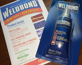 Small bottle (( 2 oz )) Weldbond Adhesive - Glues / Seals Bails, Mosaic Tile - Clear Drying Bonding Agent