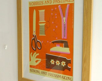 Retro Hobbies and Pastimes A3 Poster Print - Dressmaking and Sewing