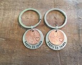 Penny Keychains-anniversary Keychains-hand stamped anniversary keychains-couples keychains