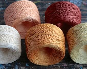 Linen yarn thread -- five balls -- beige, coral, tan, pale yellow- 5-ply
