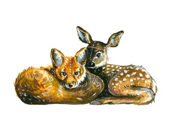 Fox + Fawn - Print of an original gouache and watercolor painting