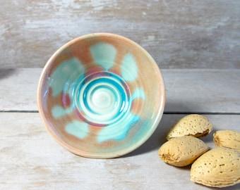 Raindrop Pot, Tiny Stoneware Bowl,Blue Green Orange Drips, Fairy Bowl, Handmade Stoneware, Little Pottery Bowl, Ritual, Prep, Ready to Ship