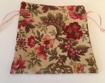 Pretty Floral small drawstring bag