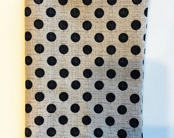 Fabric Book Cover, Book Cover for Paperback Book, Polka Dot Fabric, Polka Dot Book Cover, Tan with Black Polka Dot Fabric, Standard Book