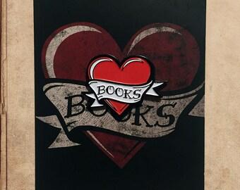 "I Heart Books Enamel Pin 1.5"" on backing card - mom tattoo"