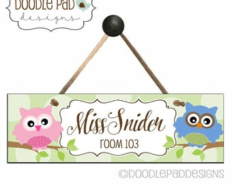 Personalized Classroom Decor Door Sign with Owls