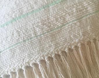 HAND WOVEN Merino Baby Blanket Pastel Mint