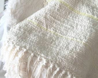 HAND WOVEN MERINO Baby Blanket Pastel Yellow