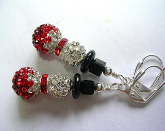 Snowman Earrings  Pretty Rhinestone Pave Beads with a red rhinestone scarf Wire Wrapped Snowmen Silver Plate Leverback Hooks Gifts under 5