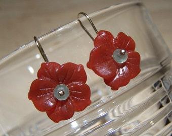 Carved Carnelian Agate flower, green adventurine earrings